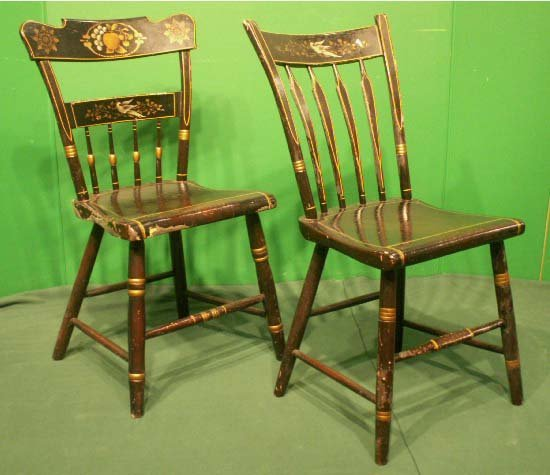 11: ASSEMBLED SET (4) GRAINED & STENCILED SIDE CHAIRS