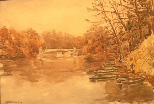 80: WATERCOLOR, ROWBOATS-CENTRAL PARK, NEW YORK CITY
