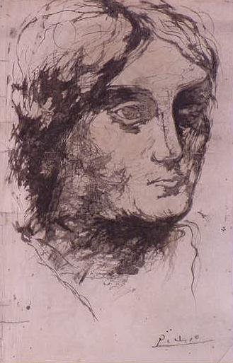 140: INK/PAPER, SKETCH OF OLGA PICASSO