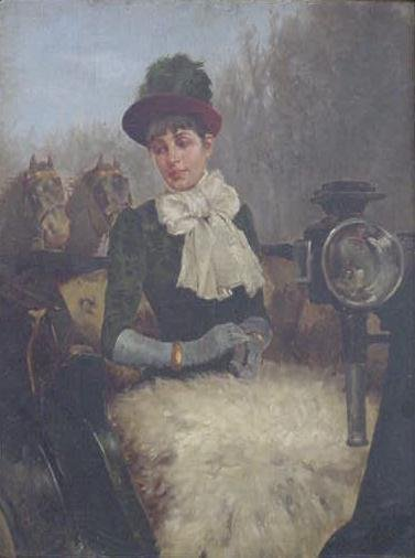 314: OIL ON CANVAS/BOARD, AN ELEGANT WOMAN IN A COACH