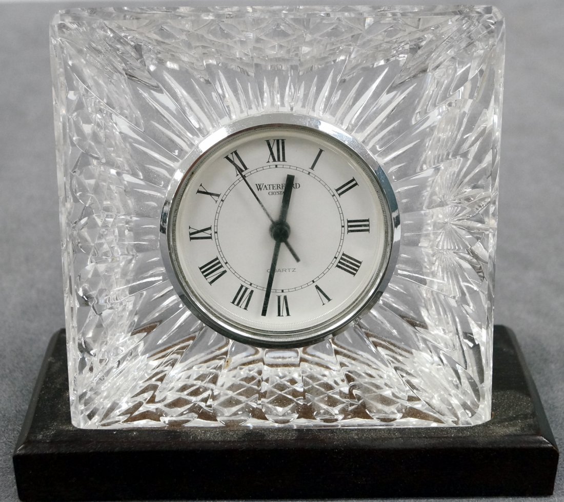 """WATERFORD CRYSTAL DESK CLOCK, SIGNED. HEIGHT 6""""; WIDTH"""