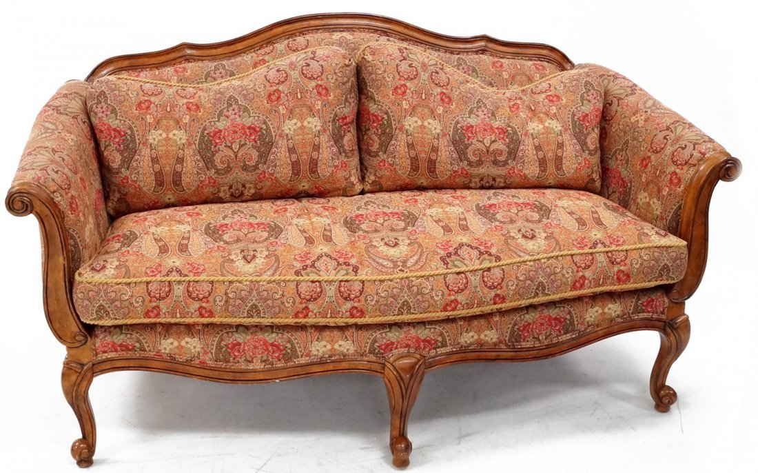 FRENCH STYLE CARVED FRUITWOOD SETTEE, BY ETHAN ALLEN.