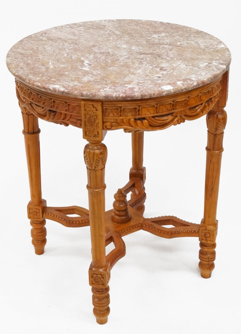 FRENCH STYLE CARVED MAHOGANY CENTER MARBLE-TOP STAND.