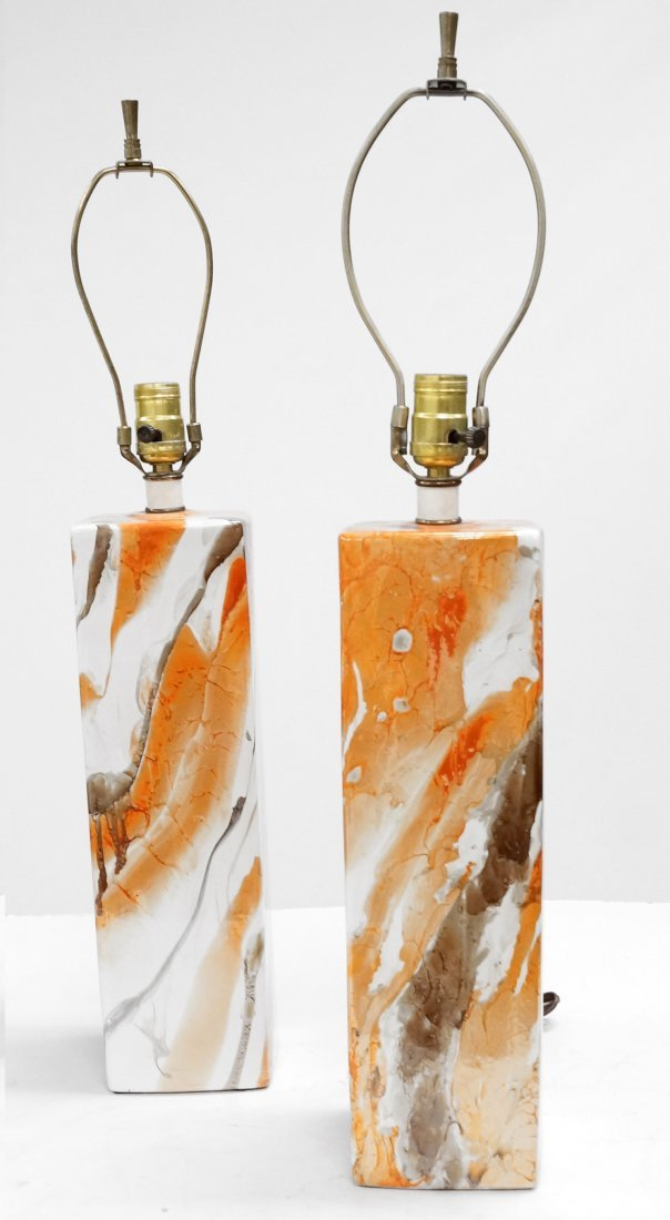PAIR MID-CENTURY ABSTRACT DECORATED PORCELAIN LAMPS.