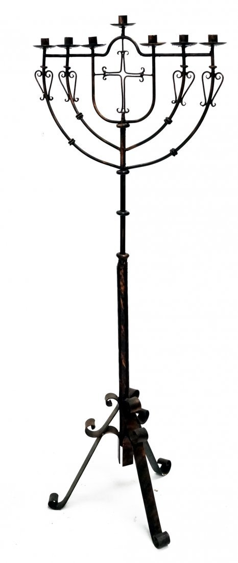 """PATINATED WROUGHT IRON FLOOR CANDELABRA. HEIGHT 59"""""""