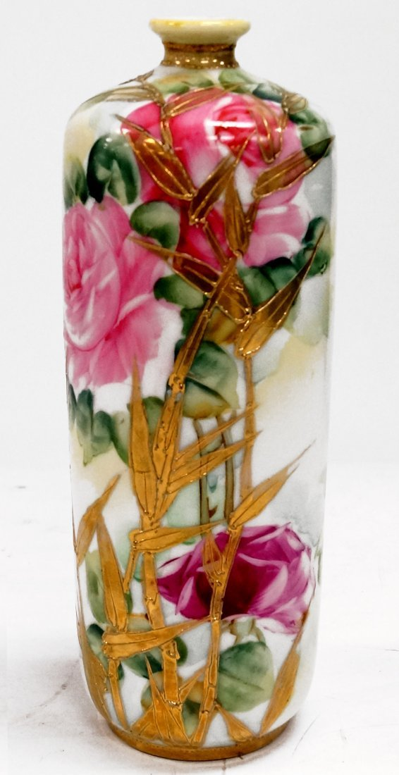 """HAND PAINTED NIPPON VASE, SIGNED. HEIGHT 9"""""""