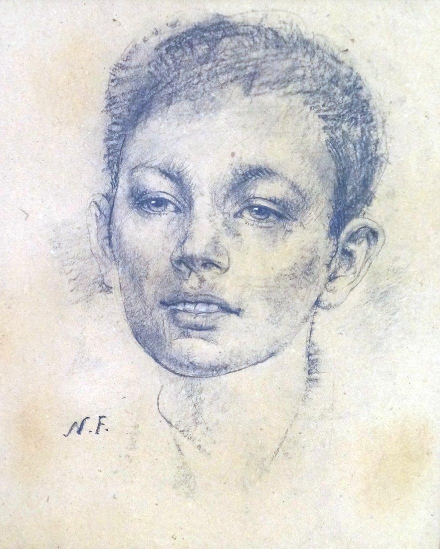 NICOLAI FECHIN (AMERICAN/RUSSIAN 1881-1955), CHARCOAL