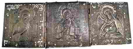 RUSSIAN BRASS TRIPTYCH TRAVELING ICON, 19TH CENTURY. 5