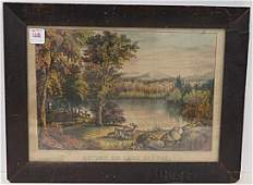 CURRIER  IVES LITHOGRAPH AUTUMN ON LAKE GEORGE 9