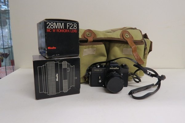 MINOLTA XE-7, 35MM CAMERA BODY WITH ROKKOR X 28MM, F2.8