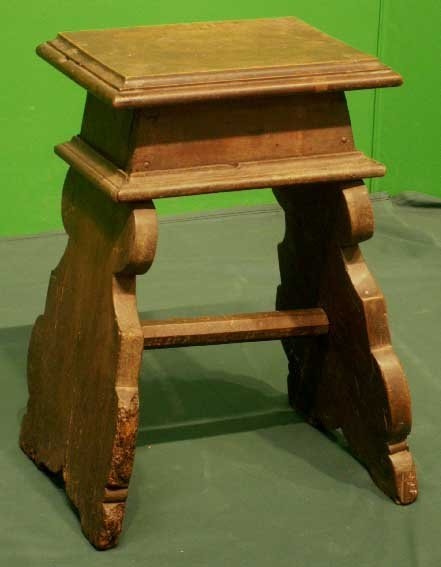 1007: CONTINENTAL CARVED WALNUT STOOL