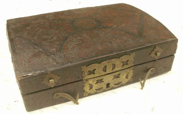 1016: CONTINENTAL BRASS/TOOLED LEATHER WRITING BOX