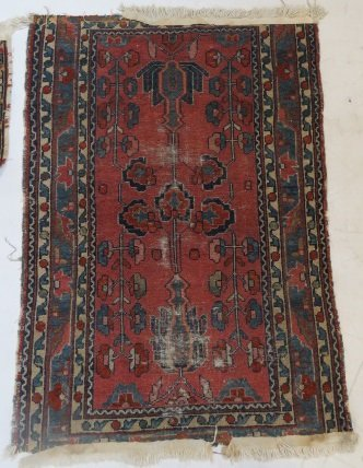 "LOT (2) ANTIQUE PERSIAN MATS. APPROXIMATELY 29 X 42"" - 6"