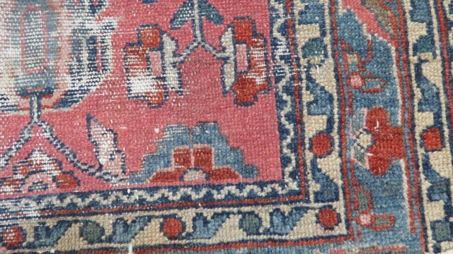 "LOT (2) ANTIQUE PERSIAN MATS. APPROXIMATELY 29 X 42"" - 7"