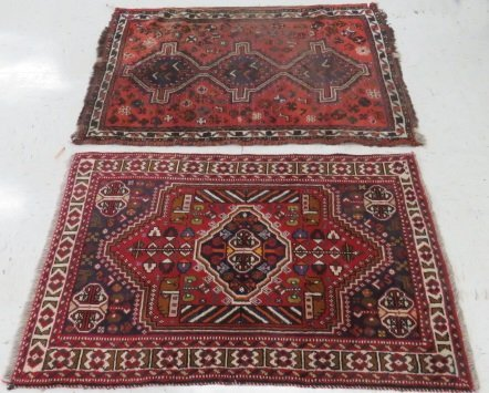 (2) ANTIQUE ORIENTAL RUGS. APPROX. 3 1/2 X 5'; 3 X 4'