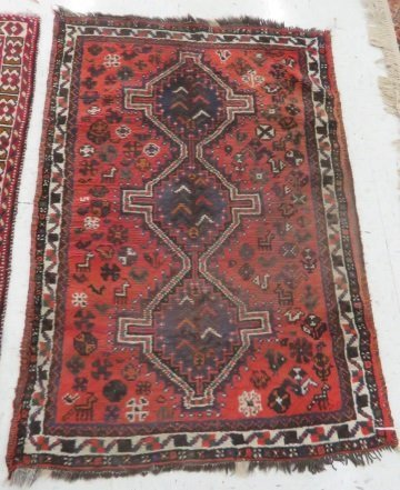 (2) ANTIQUE ORIENTAL RUGS. APPROX. 3 1/2 X 5'; 3 X 4' - 2