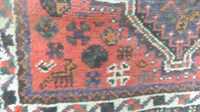 (2) ANTIQUE ORIENTAL RUGS. APPROX. 3 1/2 X 5'; 3 X 4' - 3