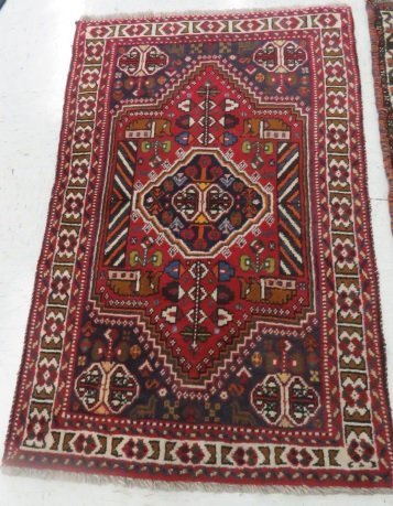(2) ANTIQUE ORIENTAL RUGS. APPROX. 3 1/2 X 5'; 3 X 4' - 5
