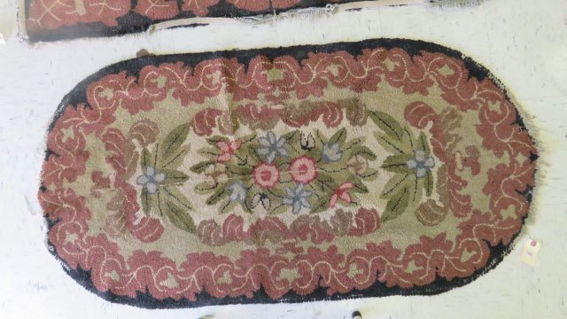 """LOT (3) VINTAGE HOOKED RUGS. LARGEST 3'X 4'11"""" (AS IS) - 2"""