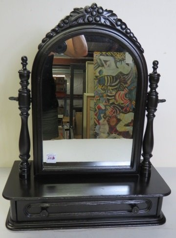"PAINTED SHAVING MIRROR WITH DRAWER. HEIGHT 21""; WIDTH"
