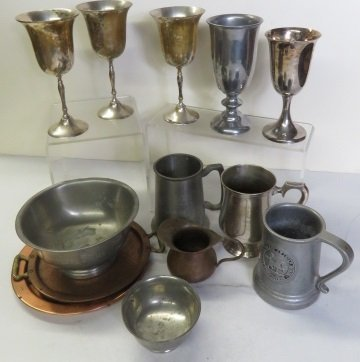 LOT ASSORTED SILVER PLATE, PEWTER AND COPPER PLATES,