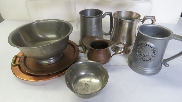 LOT ASSORTED SILVER PLATE, PEWTER AND COPPER PLATES, - 2