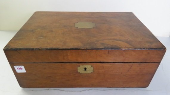 "BURL ELM BOX WITH BRASS INLAY, 19TH CENTURY. HEIGHT 6"";"
