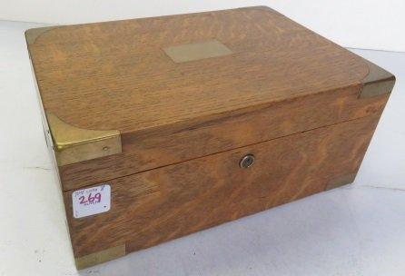 """BRASS MOUNTED OAK CIGAR BOX. HEIGHT 5""""; WIDTH 11"""""""