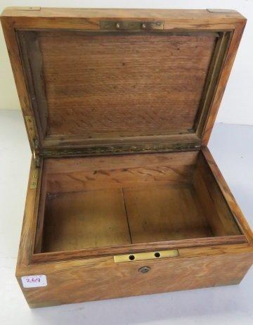 """BRASS MOUNTED OAK CIGAR BOX. HEIGHT 5""""; WIDTH 11"""" - 2"""