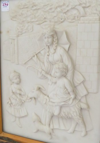 CAST STONE RELIEF PANEL, CHILD ON A GOAT. FRAMED 21 X - 2