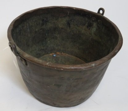ANTIQUE HAMMERED COPPER CAULDRON WITH CAST IRON