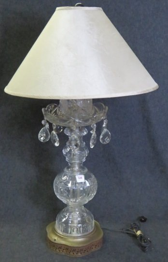 RETRO CUT CRYSTAL TABLE LAMP. HEIGHT 30""