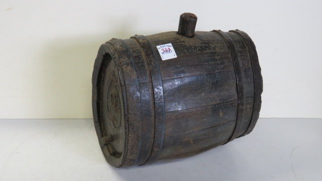 STARED (OVOID) BARREL WITH METAL BANDS AND CARVING ON