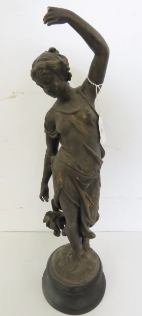 """SPELTER FIGURE OF A CLASSICAL WOMAN. HEIGHT 18 1/2"""""""