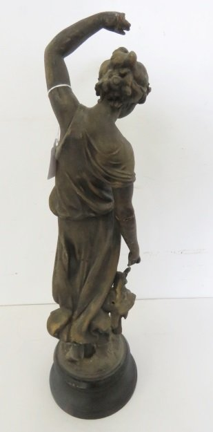 """SPELTER FIGURE OF A CLASSICAL WOMAN. HEIGHT 18 1/2"""" - 2"""