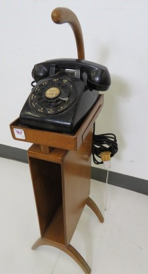 MID-CENTURY TELEPHONE AND STAND. HEIGHT 32""