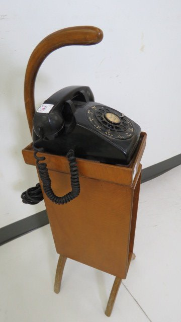 "MID-CENTURY TELEPHONE AND STAND. HEIGHT 32"" - 2"