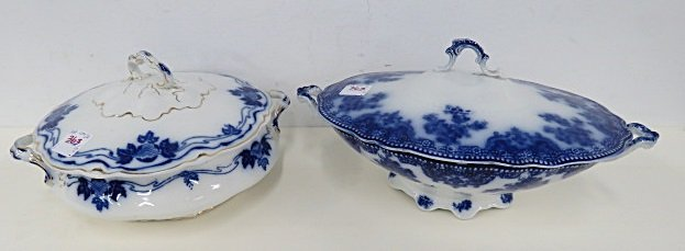 LOT (2) VINTAGE FLOW BLUE COVERED SERVING DISHES. ONE