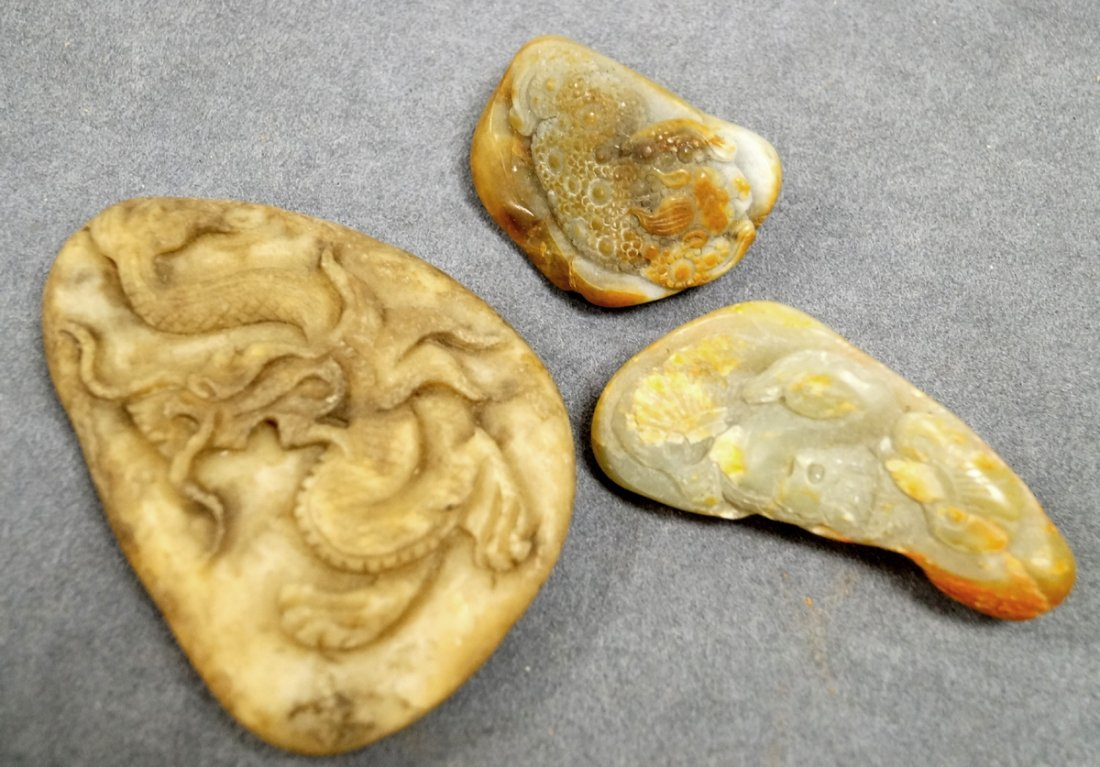 LOT (3) CHINESE CARVED HARDSTONE SCHOLAR'S STONES