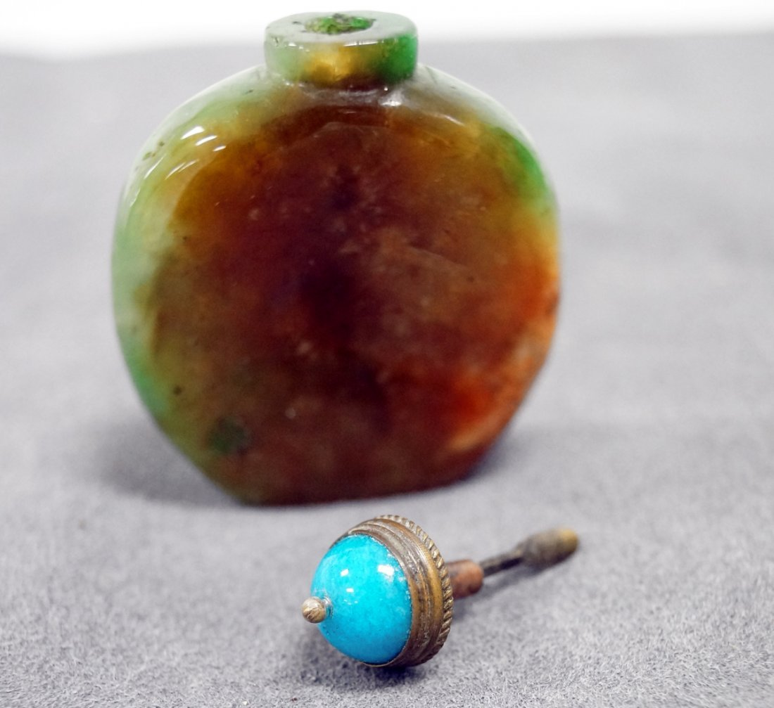 CHINESE CARVED JADE WITH MATRIX SNUFF BOTTLE. HEIGHT 2 - 2