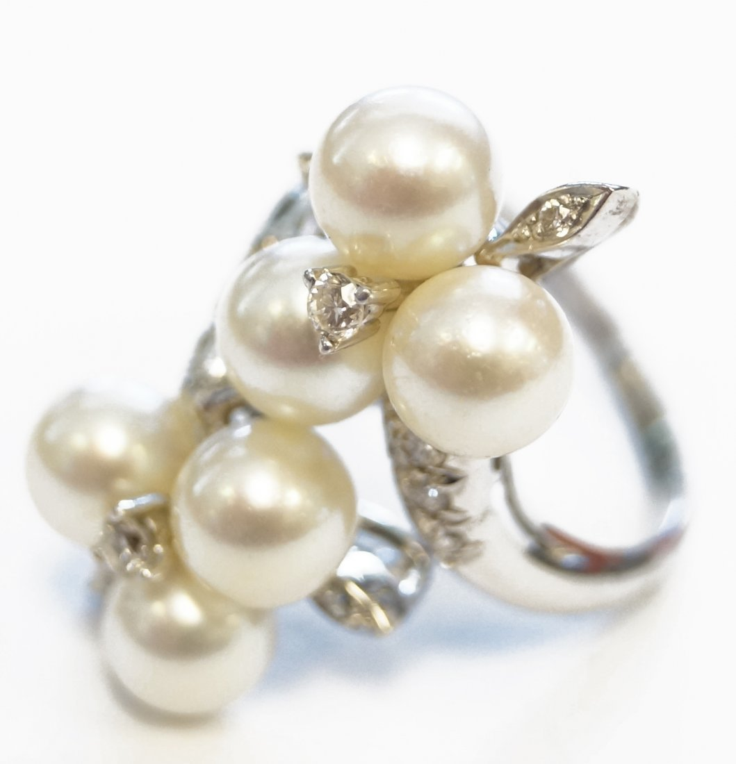 14K WHITE GOLD, 6.6-6.73 CULTURED PEARL AND DIAMOND