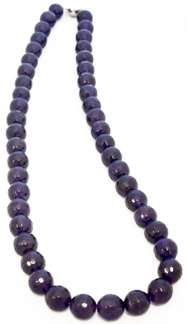 STRAND (46) 9.63MM-10.18MM FACETED AMETHYST BEADS WITH