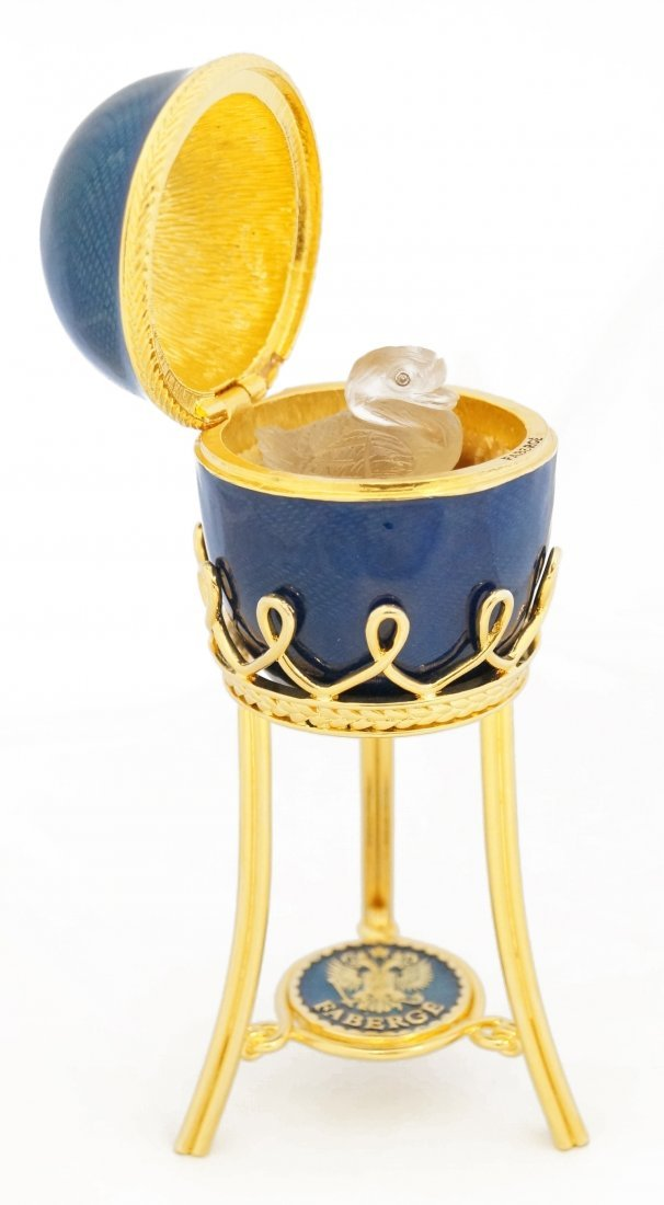 RUSSIAN FABERGE/LIMITED EDITION BLUE GUILLOCHE ENAMELED