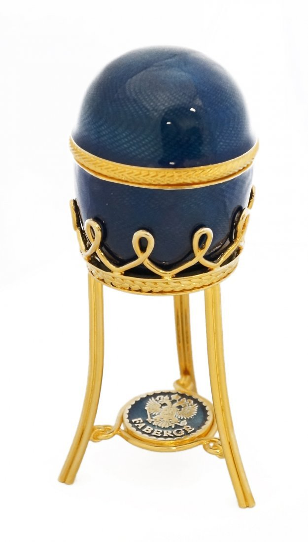 RUSSIAN FABERGE/LIMITED EDITION BLUE GUILLOCHE ENAMELED - 3