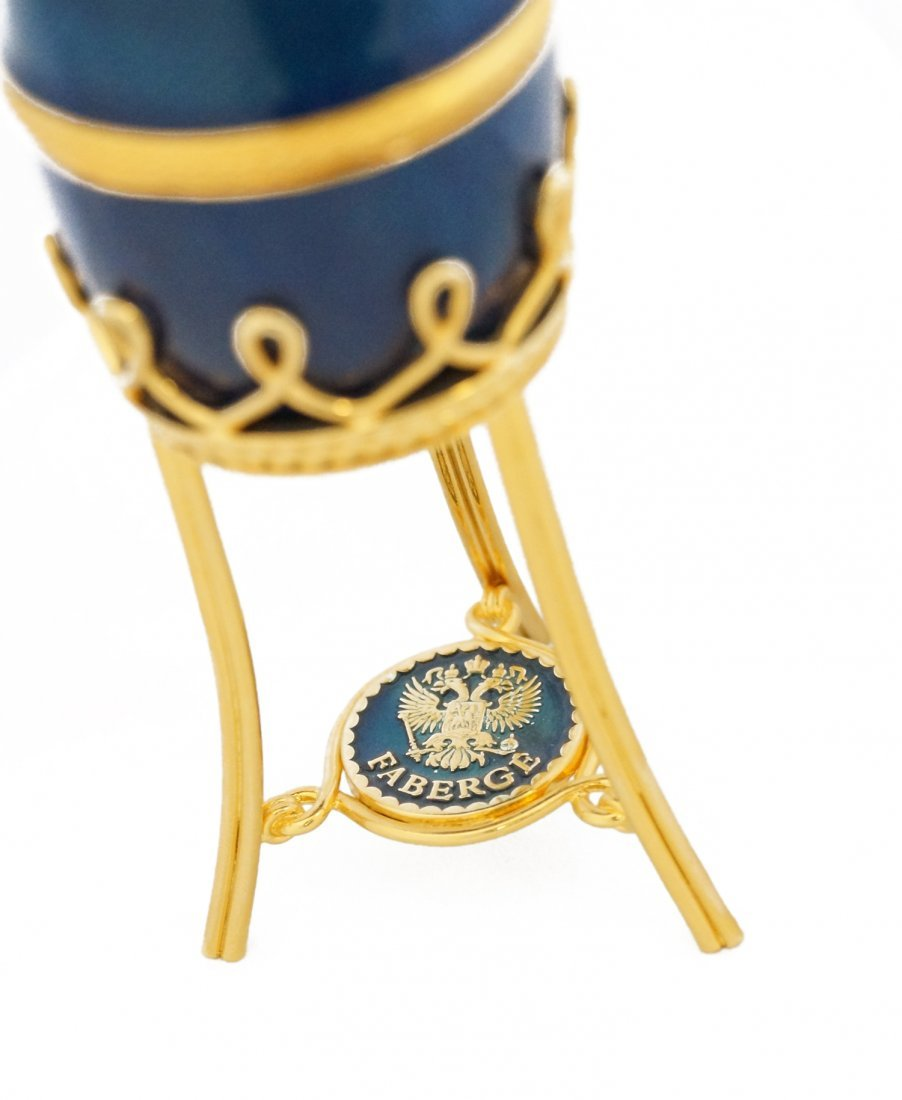 RUSSIAN FABERGE/LIMITED EDITION BLUE GUILLOCHE ENAMELED - 4