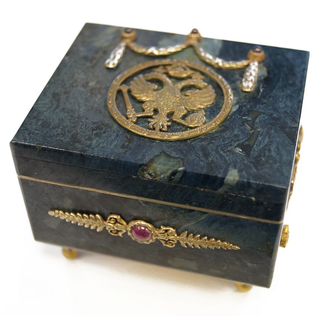 IMPERIAL RUSSIAN HARDSTONE BOX WITH GILT SILVER MOUNTS,