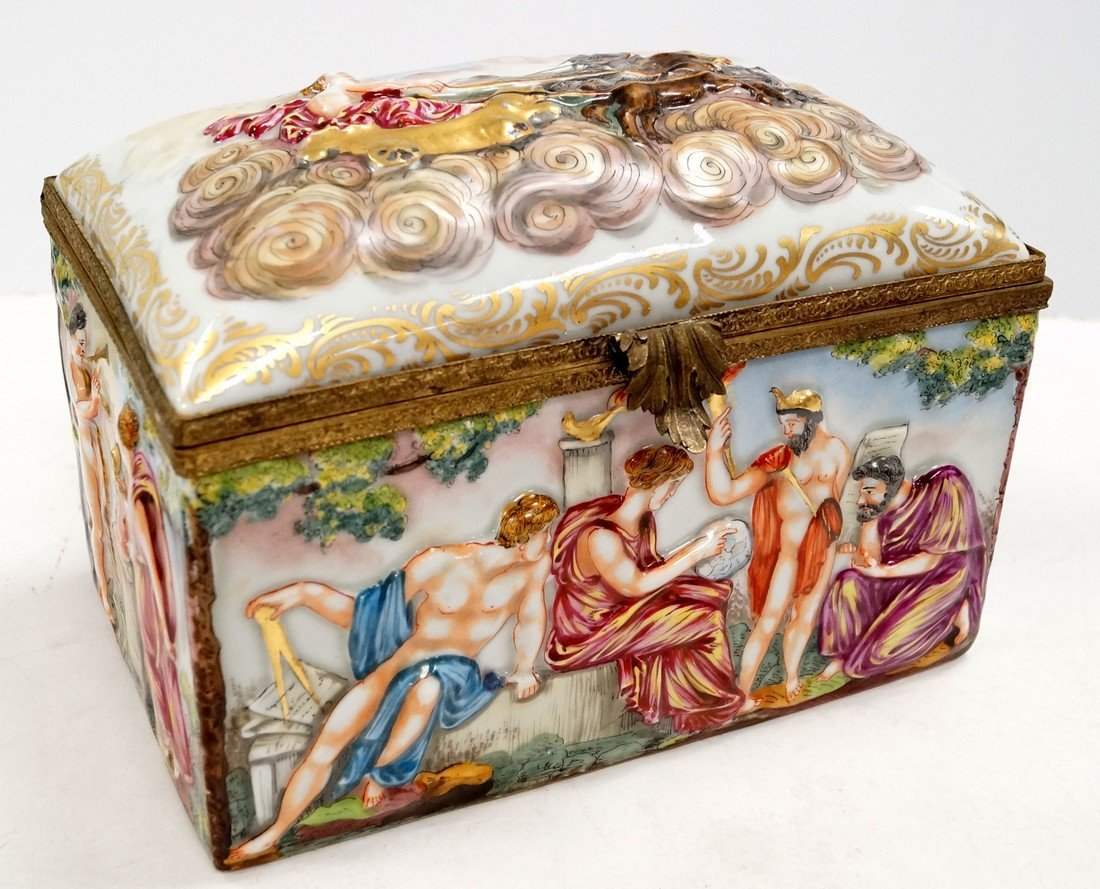 CAPO DI MONTE PORCELAIN COVERED JEWELRY CASKET WITH