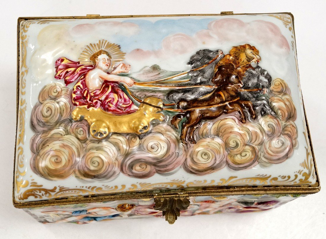 CAPO DI MONTE PORCELAIN COVERED JEWELRY CASKET WITH - 2