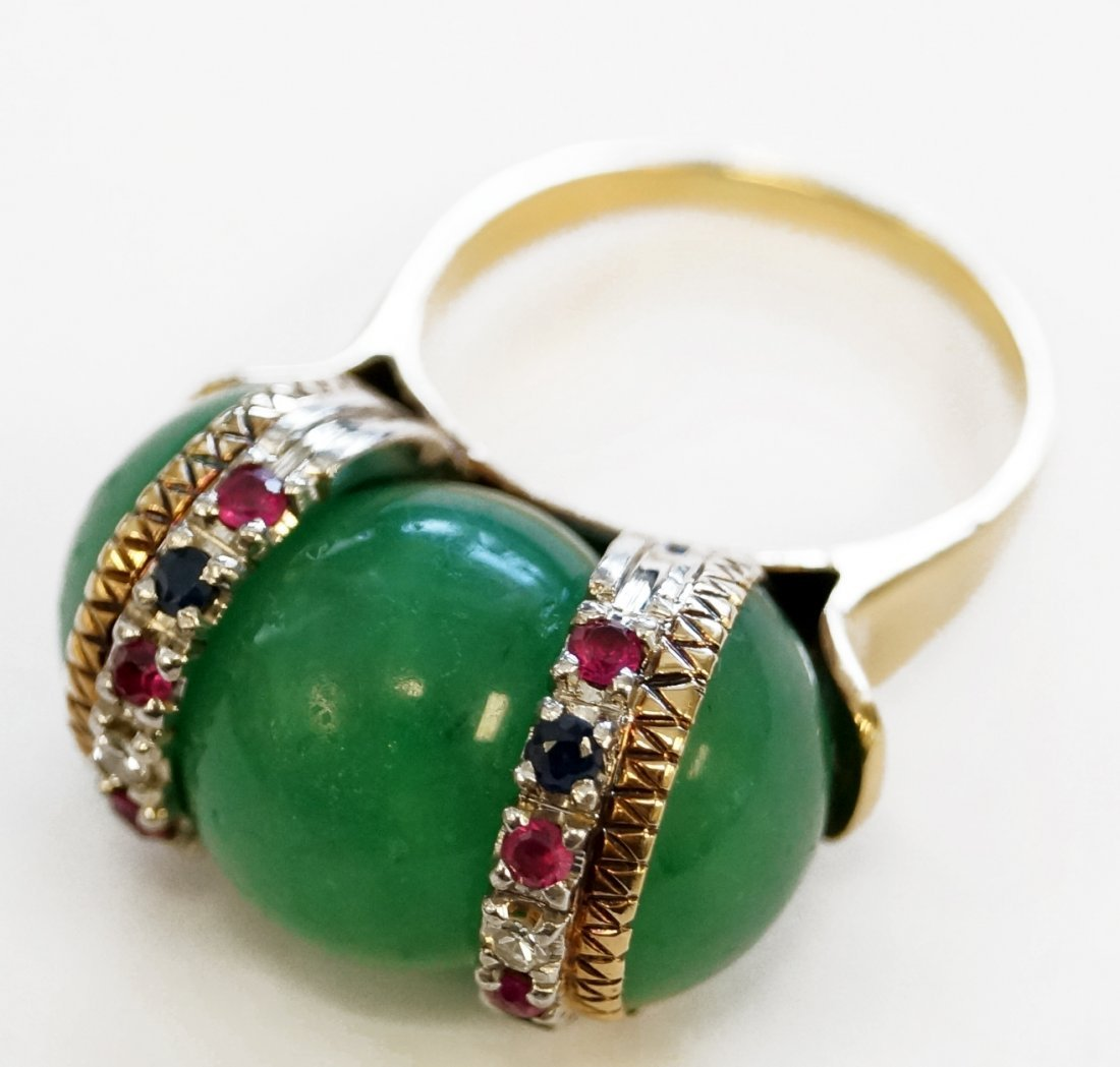 YELLOW GOLD (TESTS 14K) GREEN QUARTZ RING WITH DIAMOND,