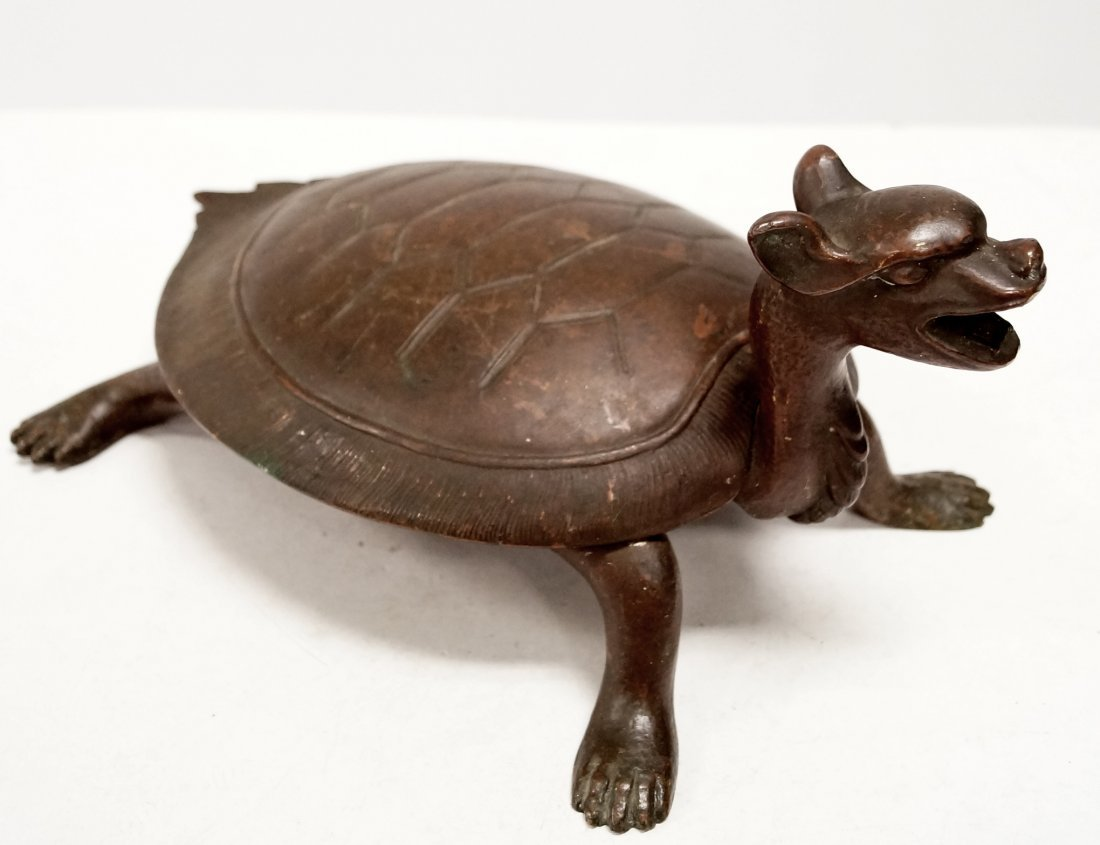 CHINESE STYLE BRONZE MECHANICAL MYTHICAL TURTLE-FORM
